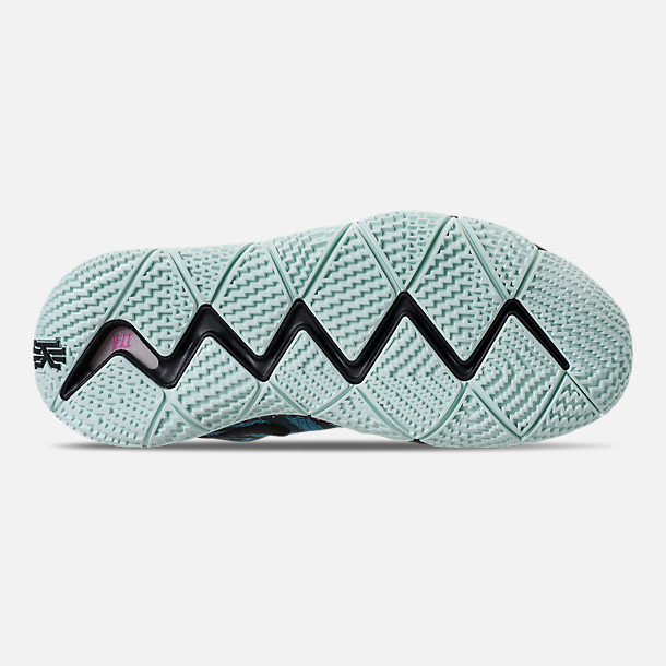 Bottom view of Men's Nike Kyrie 4 Basketball Shoes in Black/Laser Fuchsia