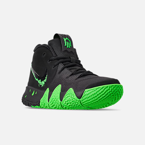 8929f44d48adf8 ... spain three quarter view of mens nike kyrie 4 basketball shoes in black  rage green 1d7c0