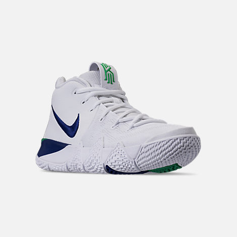 Three Quarter view of Men's Nike Kyrie 4 Basketball Shoes in White/Deep  Royal
