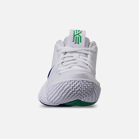 Front view of Men's Nike Kyrie 4 Basketball Shoes in White/Deep Royal
