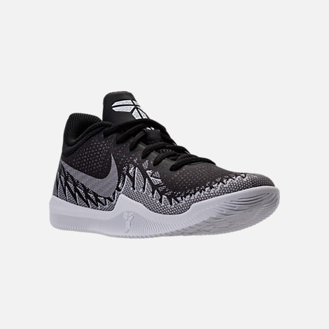 Three Quarter view of Boys' Grade School Nike Kobe Mamba Rage Basketball Shoes in Anthracite/White/Black