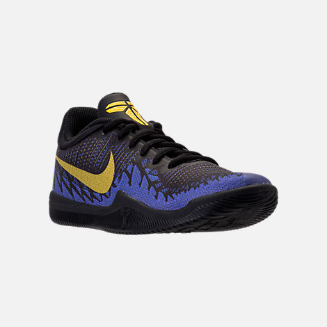 Three Quarter view of Boys' Grade School Nike Kobe Mamba Rage Basketball Shoes in Black/Tour Yellow/Court Purple