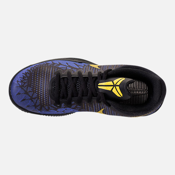 Top view of Boys' Grade School Nike Kobe Mamba Rage Basketball Shoes in Black/Tour Yellow/Court Purple