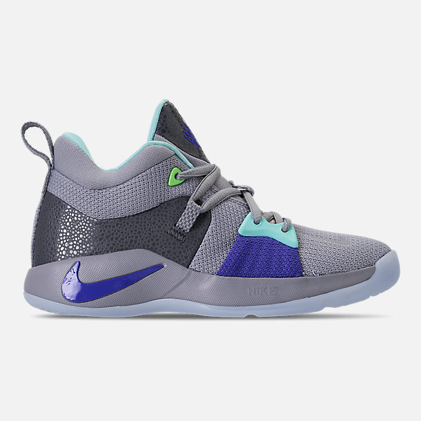 Right view of Little Kids' Nike PG 2 Basketball Shoes in Pure Platinum/Neon Turquoise/Wolf Grey