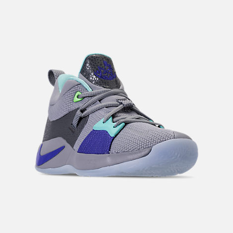 Three Quarter view of Little Kids' Nike PG 2 Basketball Shoes in Pure Platinum/Neon Turquoise/Wolf Grey