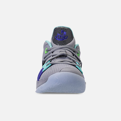 Front view of Little Kids' Nike PG 2 Basketball Shoes in Pure Platinum/Neon Turquoise/Wolf Grey
