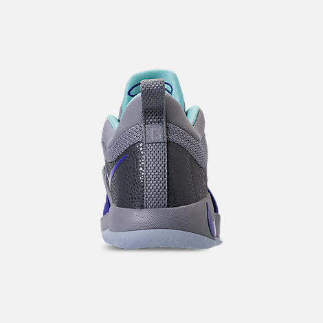 Back view of Little Kids' Nike PG 2 Basketball Shoes in Pure Platinum/Neon Turquoise/Wolf Grey