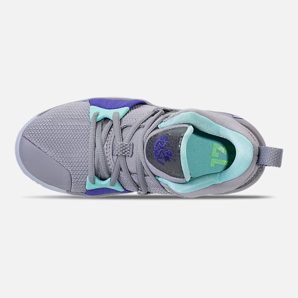 Top view of Little Kids' Nike PG 2 Basketball Shoes in Pure Platinum/Neon Turquoise/Wolf Grey