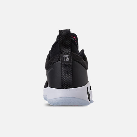 Back view of Kids' Grade School Nike PG 2 Basketball Shoes in Black/White/Solar Red