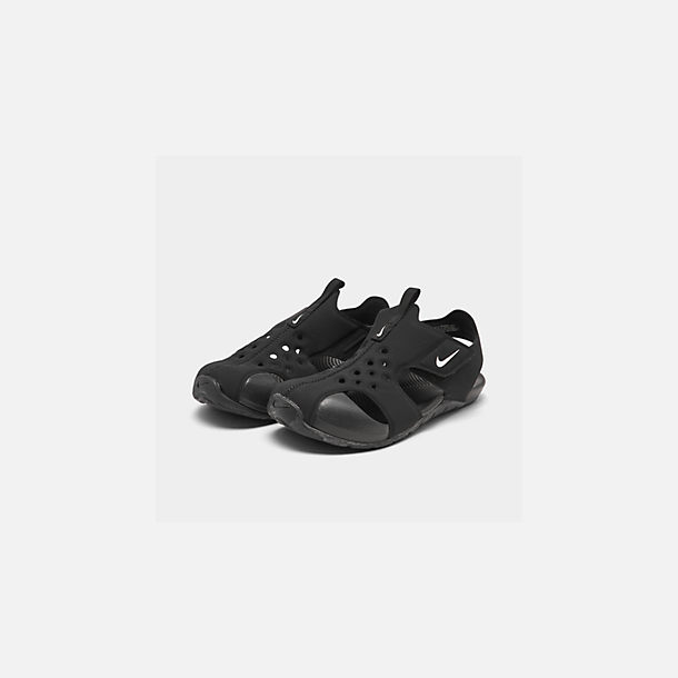 Three Quarter view of Boys' Little Kids' Nike Sunray Protect 2 Hook-and-Loop Sandals in Black/White