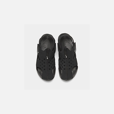 Back view of Boys' Preschool Nike Sunray Protect 2 Hook-and-Loop Sandals in Black/White