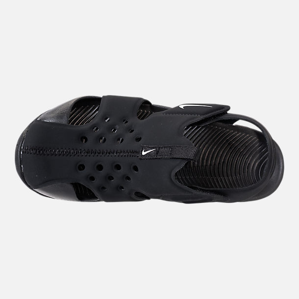Top view of Boys' Little Kids' Nike Sunray Protect 2 Hook-and-Loop Sandals in Black/White