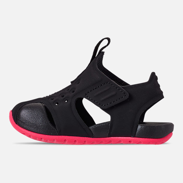 cf7b7e2150d0 Left view of Girls  Toddler Nike Sunray Protect 2 Sandals in Black Racer  Pink