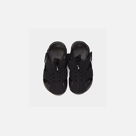 Back view of Boys' Toddler Nike Sunray Protect 2 Hook-and-Loop Sandals in Black/White