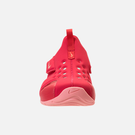 Front view of Girls' Preschool Nike Sunray Protect 2 Hook-and-Loop Sandals in Tropical Pink/Bleached Coral