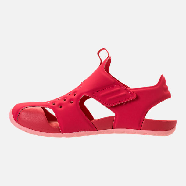 Left view of Girls' Preschool Nike Sunray Protect 2 Hook-and-Loop Sandals in Tropical Pink/Bleached Coral