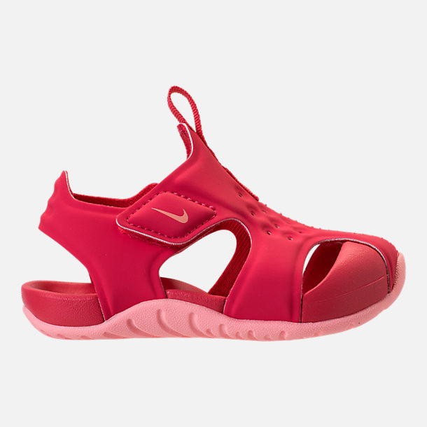 Right view of Girls' Toddler Nike Sunray Protect 2 Hook-and-Loop Sandals in Tropical Pink/Bleached Coral