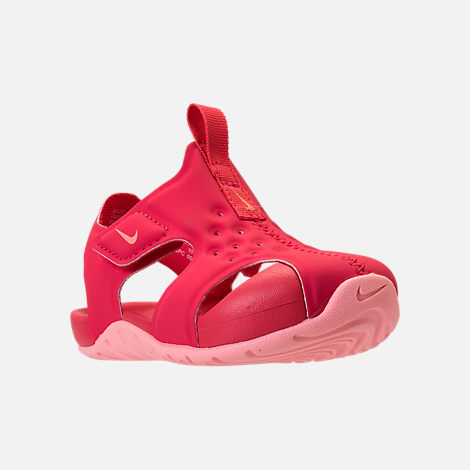 Three Quarter view of Girls' Toddler Nike Sunray Protect 2 Hook-and-Loop Sandals in Tropical Pink/Bleached Coral