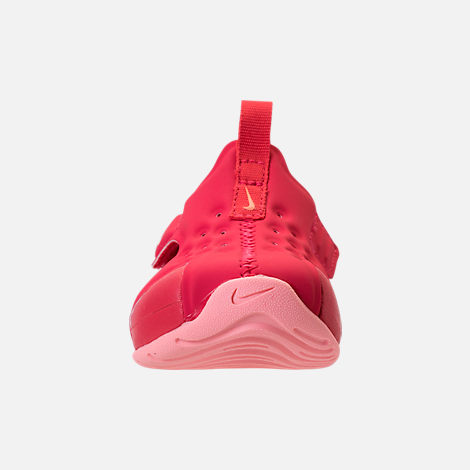 Front view of Girls' Toddler Nike Sunray Protect 2 Hook-and-Loop Sandals in Tropical Pink/Bleached Coral