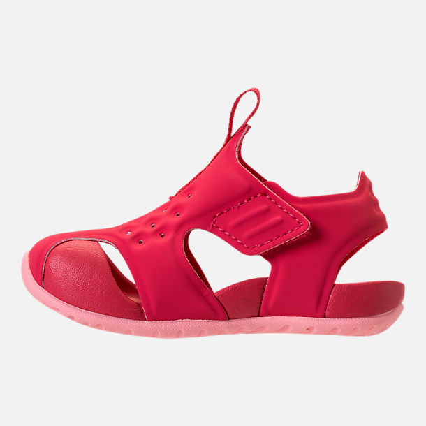 Left view of Girls' Toddler Nike Sunray Protect 2 Hook-and-Loop Sandals in Tropical Pink/Bleached Coral