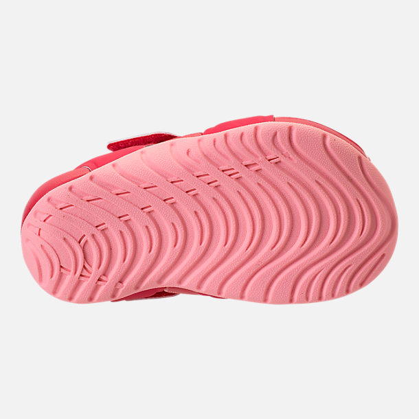 Bottom view of Girls' Toddler Nike Sunray Protect 2 Hook-and-Loop Sandals in Tropical Pink/Bleached Coral