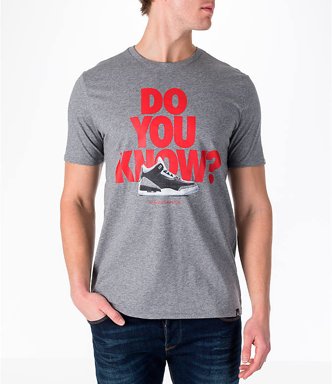 Front view of Men's Air Jordan 3 Do You Know T-Shirt in Heather Grey/Red