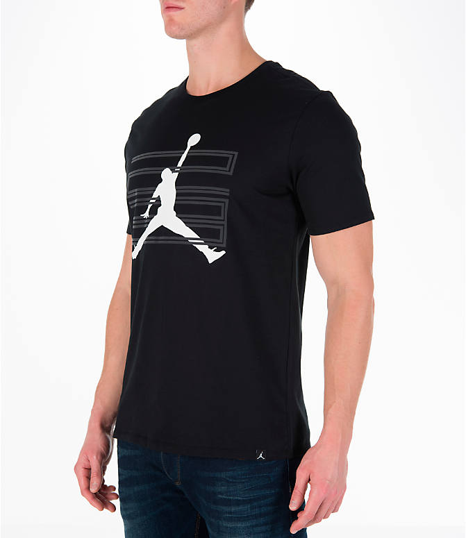 Front Three Quarter view of Men's Air Jordan 11 Jumpman T-Shirt in Black/White