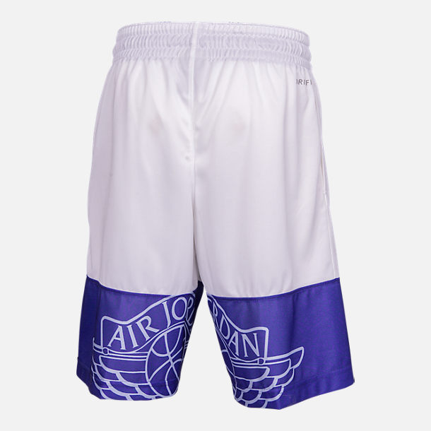 Front view of Boys' Air Jordan Wings Basketball Shorts in White/Deep Night