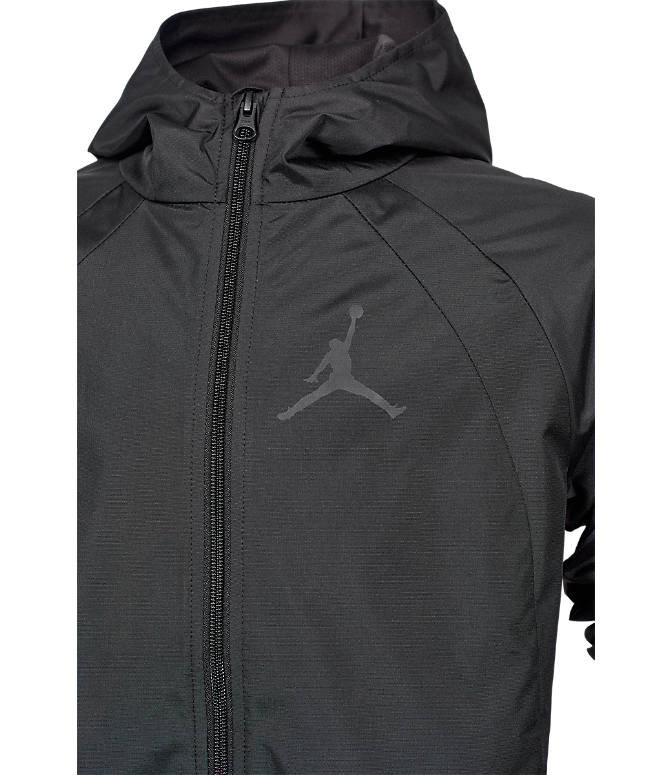 Back view of Boys' Jordan Packable Windbreaker in Black