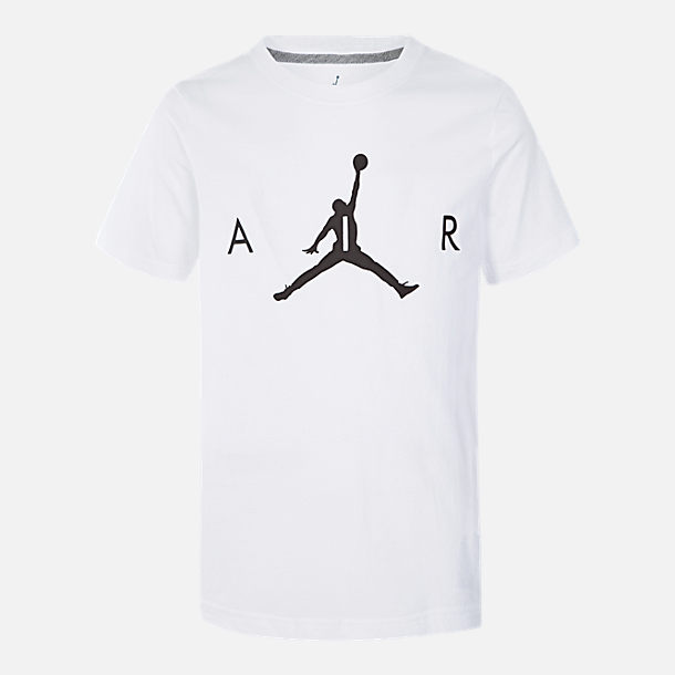 Front view of Boys' Air Jordan T-Shirt in White/Black