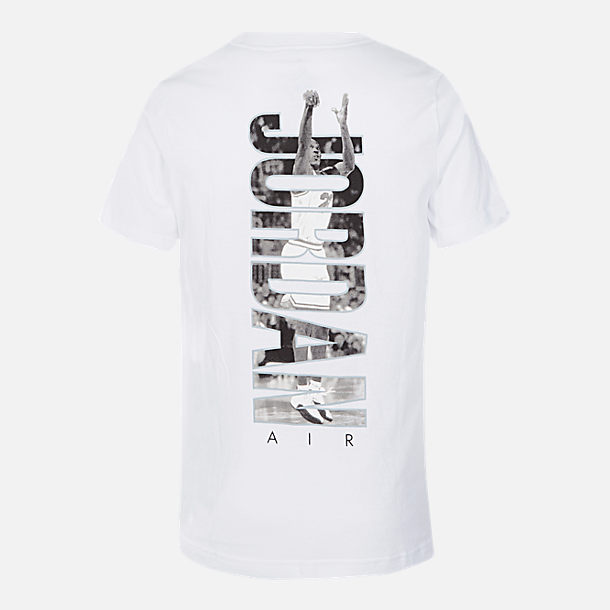 Back view of Boys' Air Jordan T-Shirt in White/Black