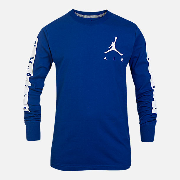 Front view of Boys' Air Jordan Cement Long-Sleeve T-Shirt in Royal Blue/White