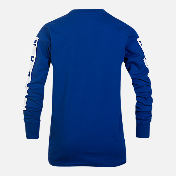 Back view of Boys' Air Jordan Cement Long-Sleeve T-Shirt in Royal Blue/White