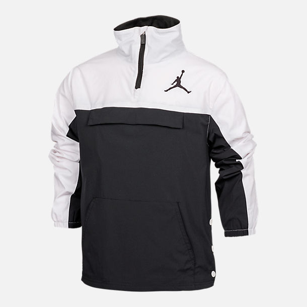 Front view of Boys' Air Jordan '90s Anorak Jacket in Black/White