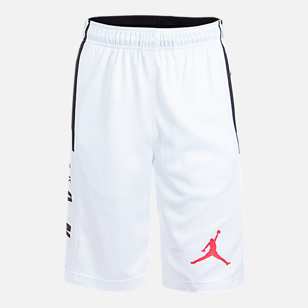 Front view of Boys' Air Jordan Rise Basketball Shorts in White/Black/Red