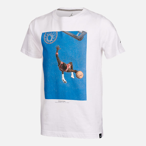 Front view of Boys' Jordan Dunk Photo T-Shirt in White