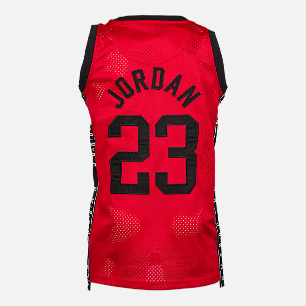 Front view of Boys' Air Jordan Rise 23 Jersey in Red/Black