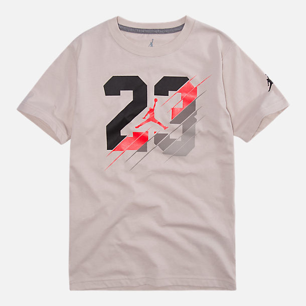 Front view of Boys' Air Jordan 23 Slash T-Shirt in Desert Sand
