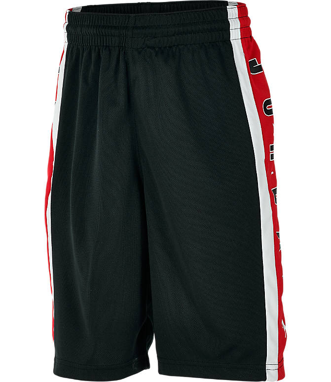 Front view of Boys' Jordan Rise 3 Shorts in Black/Gym Red