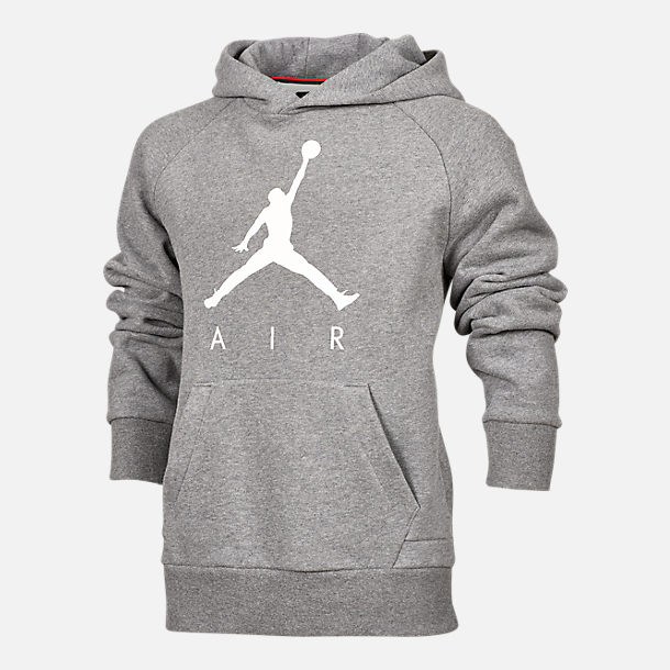 Front view of Kids' Air Jordan Jumpman Fleece Hoodie in Grey/White