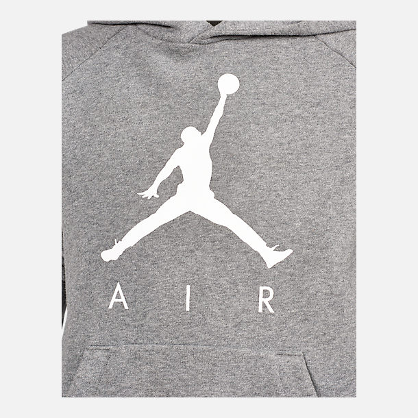 Back view of Kids' Air Jordan Jumpman Fleece Hoodie in Grey/White