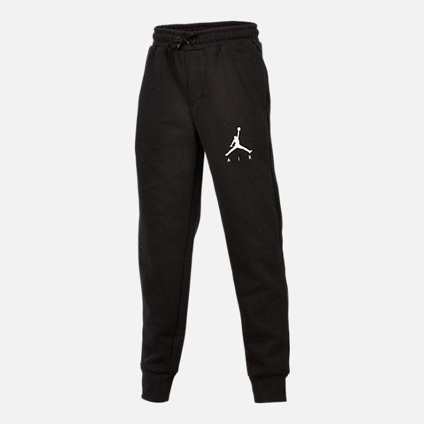 Front view of Boys' Air Jordan Jumpman Fleece Sweatpants in Black