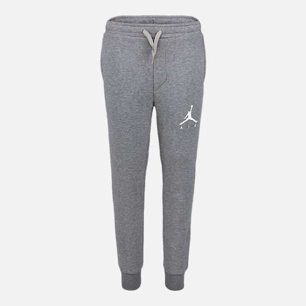 Front view of Boys' Jordan Jumpman Fleece Jogger Pants in Carbon Heather