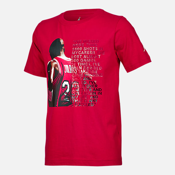 Front view of Boys' Air Jordan I Succeed T-Shirt in Red/White
