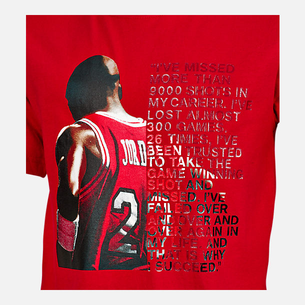 Back view of Boys' Air Jordan I Succeed T-Shirt in Red/White