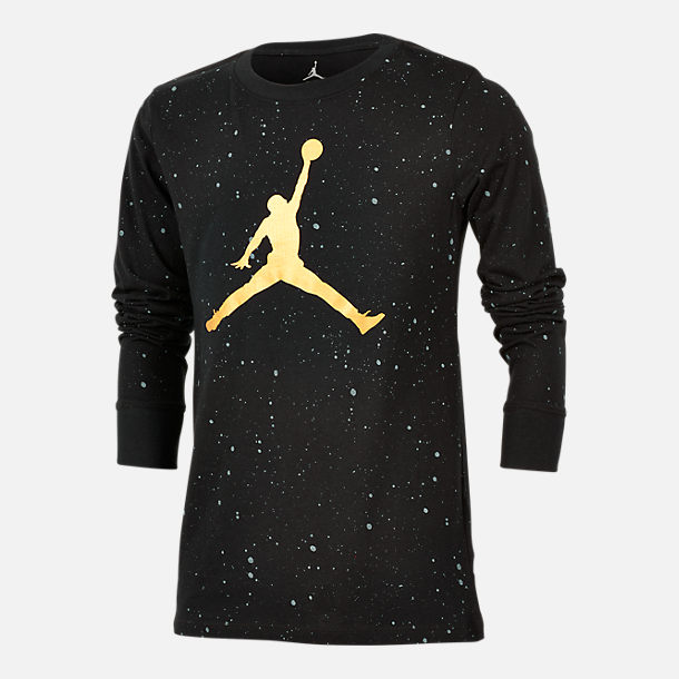 Front view of Boys' Jordan Speckle Long Sleeve T-Shirt in Black/White Speckle/Gold