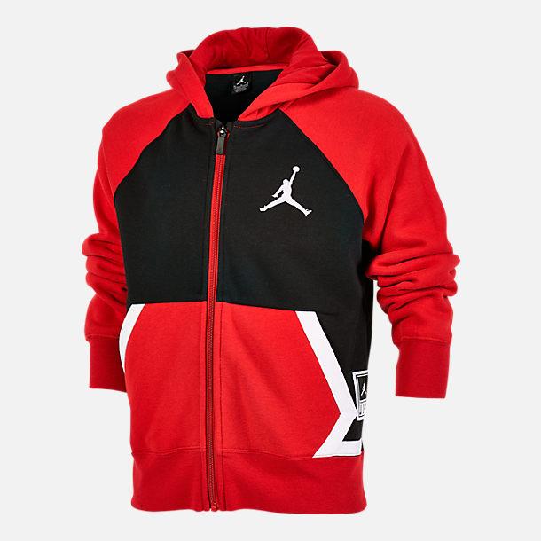 2ad7c9ded7a Front view of Boys' Jordan Diamond Fleece Full-Zip Hoodie in  Black/University