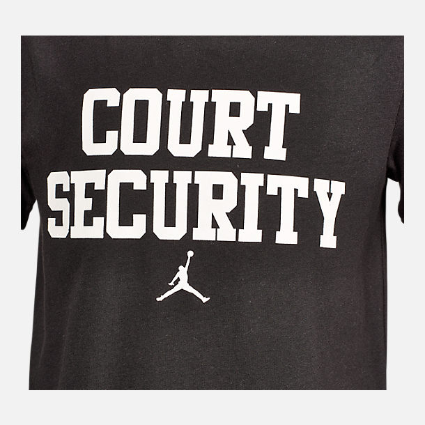 Back view of Boys' Air Jordan Court Security T-Shirt in Black/White