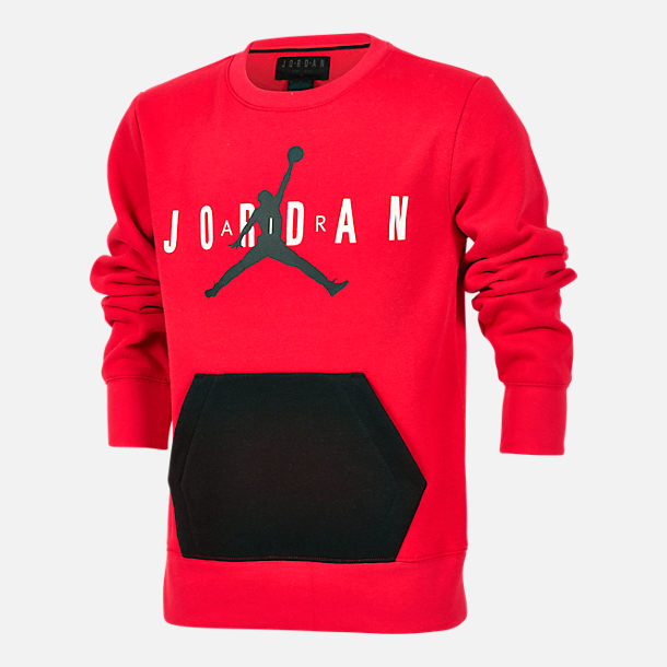377813a5e59c Front view of Boys  Air Jordan Jumpman Fleece Crewneck Sweatshirt in  University Red Black