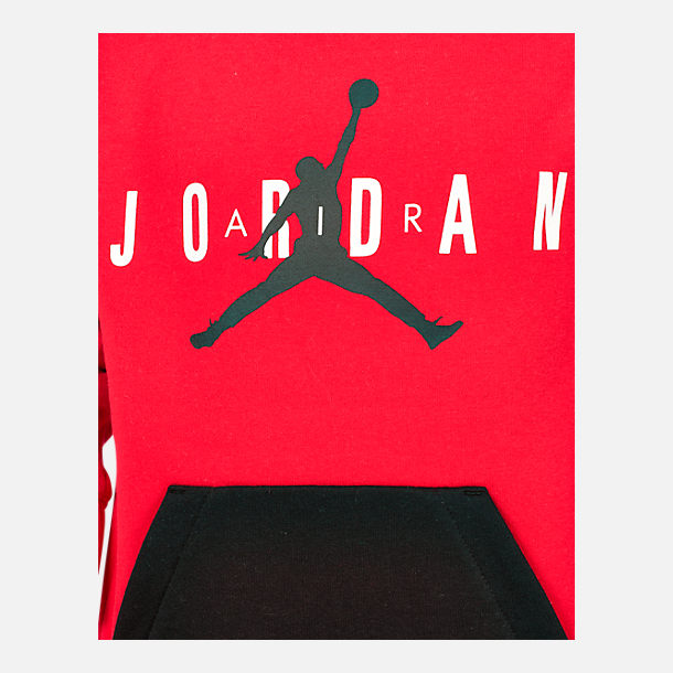 766f2ba0bead56 Back view of Boys  Air Jordan Jumpman Fleece Crewneck Sweatshirt in  University Red Black